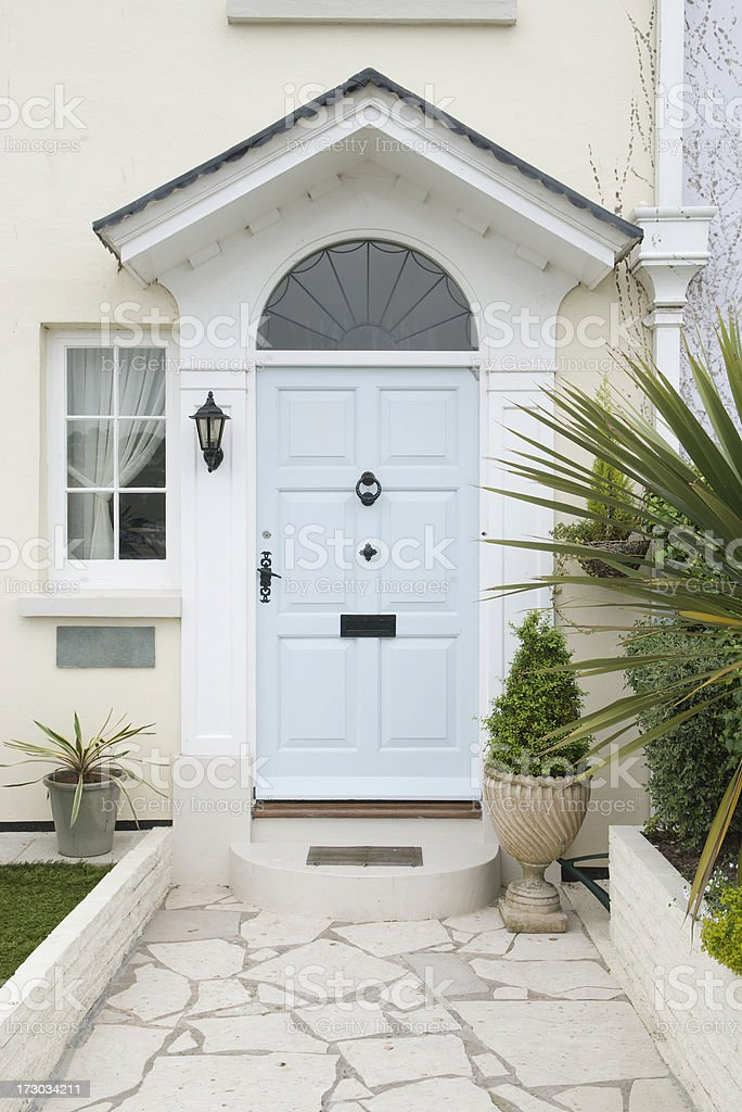 Modern Front Door Tropical Potted Plants royalty-free stock photo