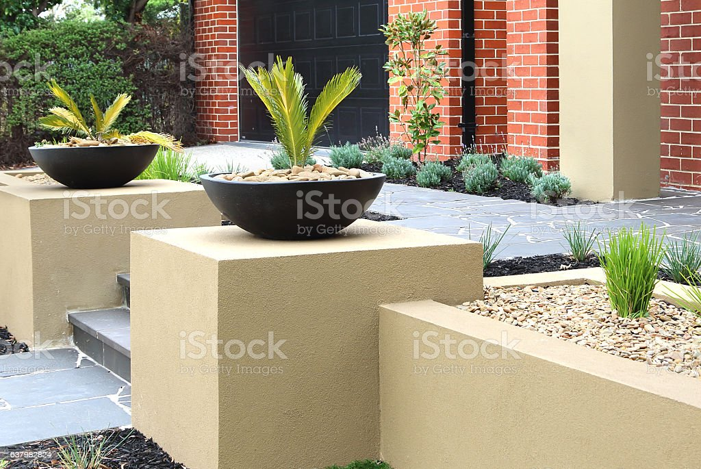 modern front yard design ideas stock photo - download image now
