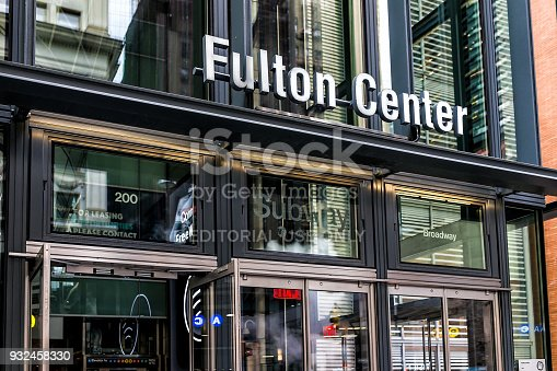 New York City, USA - October 30, 2017: Modern Fulton street NYC Subway Station in downtown exterior entrance sign in Manhattan from Broadway st