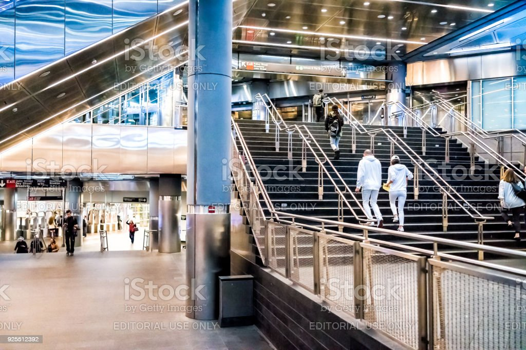 Modern Fulton Street NYC Subway Station In Downtown Interior With Transfer  Staircase, Stairs, Steps