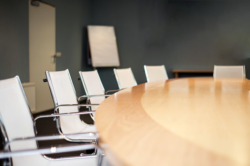 istock Modern furnished conference room beautifully designed close-up 1057489608