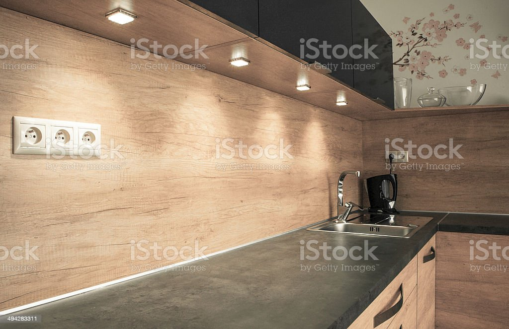 Modern furniture in the kitchen stock photo