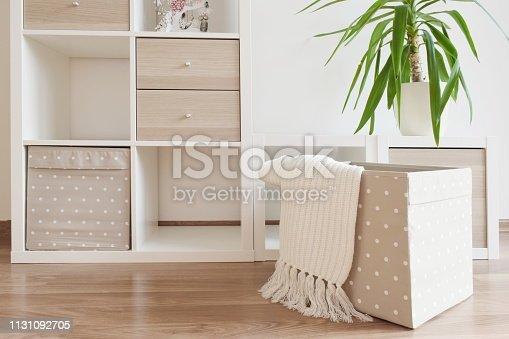 istock Modern furniture, white shelves 1131092705