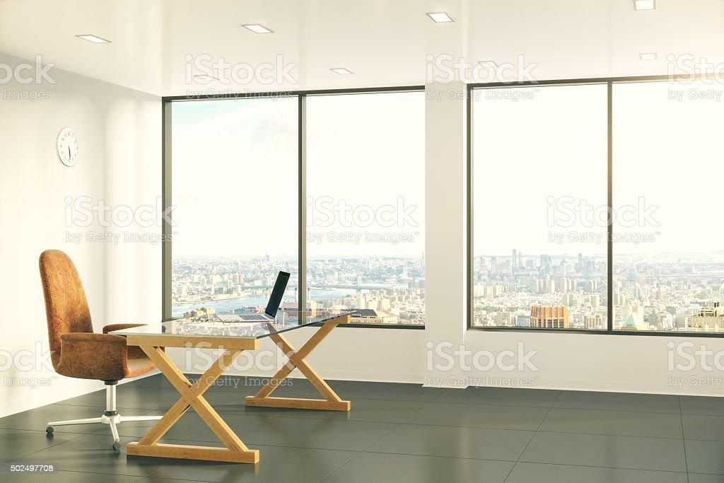 büro im loft stil grauen wänden moderne möbel mit laptop im büro sonnigen loftstil lizenzfreies stockfoto mit laptop im sonnigen loftstil stockfotografie