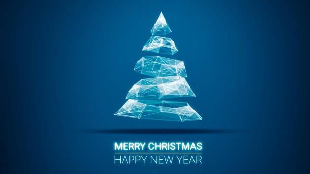 moderne zukünftige weihnachtsbaum und frohe weihnachten und happy new year grüße nachricht auf blauem hintergrund. eleganten urlaub saison soziale digitale karte für technologie, futuristische geschäft - schöne englische wörter stock-fotos und bilder