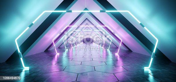 967676748istockphoto Modern Futuristic Alien Reflective Concrete Corridor Tunnel Empty Room With Purple And Blue Neon Glowing Lights Background Hexagon Floor 3D Rendering 1056494870