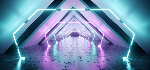istock Modern Futuristic Alien Reflective Concrete Corridor Tunnel Empty Room With Purple And Blue Neon Glowing Lights Background Hexagon Floor 3D Rendering 1056494870