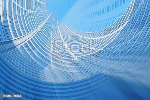 istock Modern Futuristic Architectural Background Blue Tones 1098423650