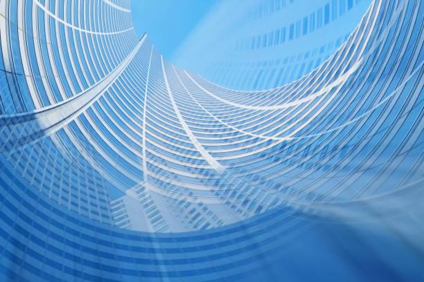 現代未來主義建築背景藍色色調 - 彈性 個照片及圖片檔