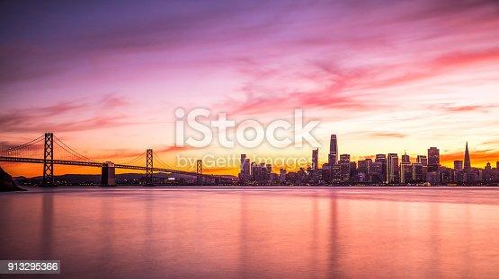 Modern futuristic downtown San Francisco skyline at night, California, USA.