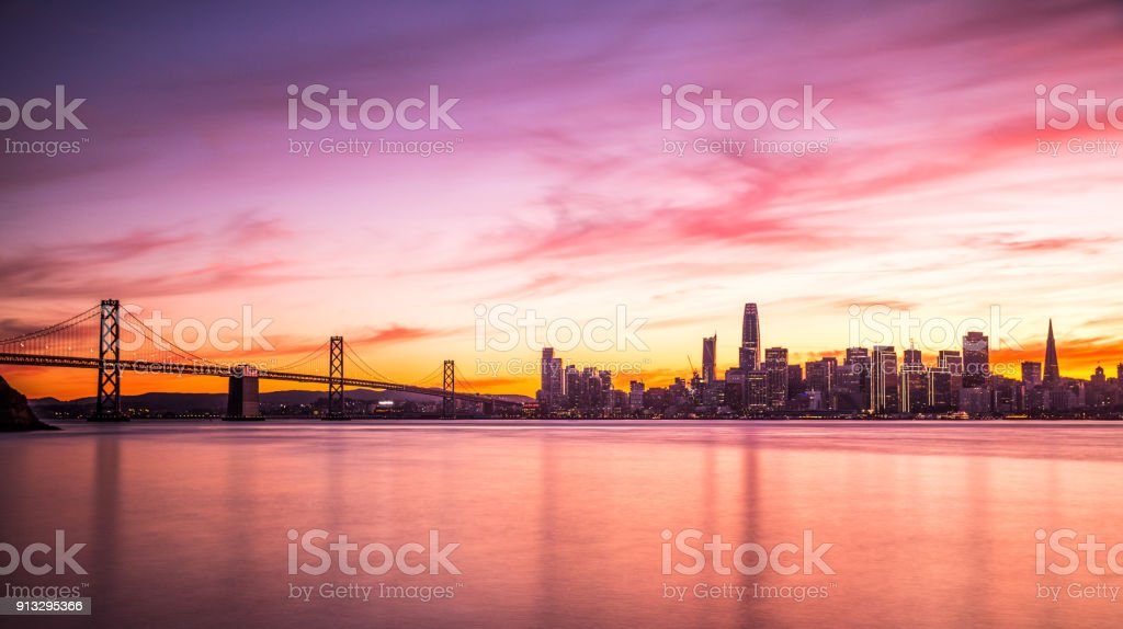 Modern futuristic downtown San Francisco skyline at night stock photo