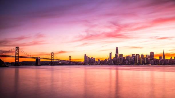 Modern futuristic downtown San Francisco skyline at night stock photo