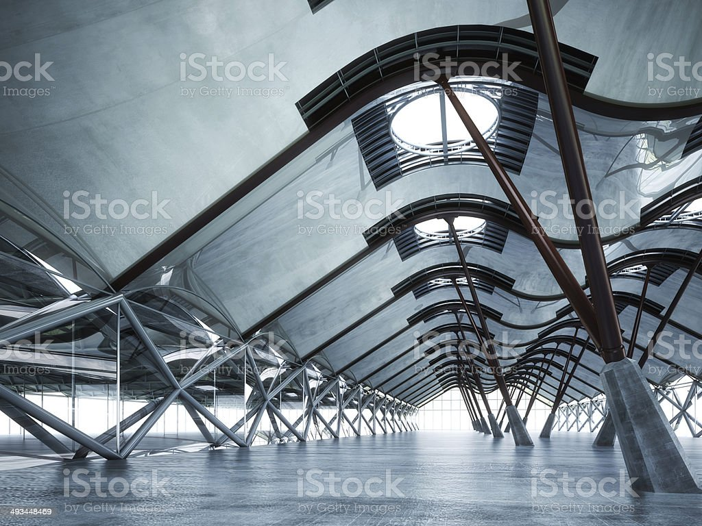 Modern futuristic empty abstract interior stock photo