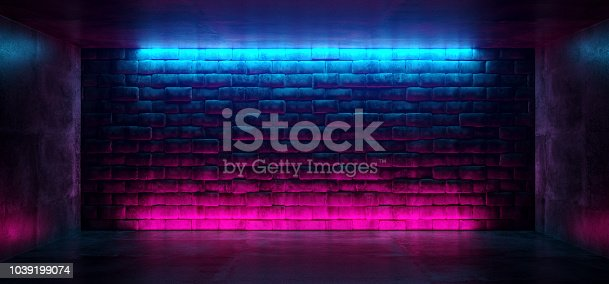 istock Modern Futuristic Neon Club Purple And Blue Lighted Empty Space Old Grunge Stone Bricked Detailed Wall In Room Wallpaper Background 3D Rendering 1039199074
