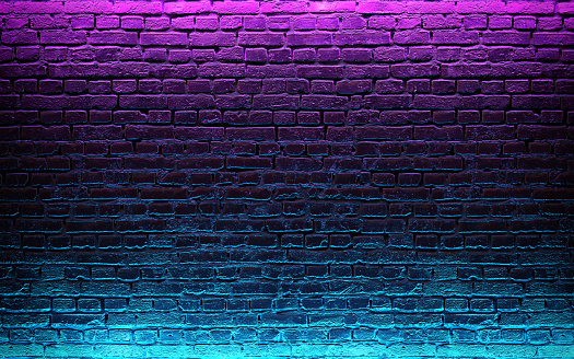 istock Modern futuristic neon lights on old grunge brick wall room background. 3d rendering 1151380473