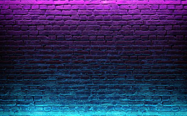 nowoczesne futurystyczne neony na starym grunge ceglanej ścianie tła pokoju. renderowanie 3d - neon zdjęcia i obrazy z banku zdjęć