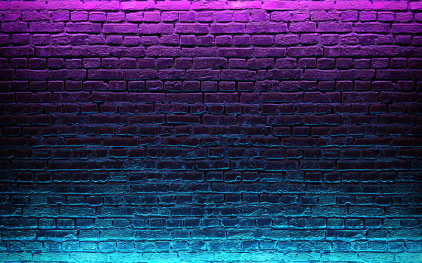 modern futuristic neon lights on old grunge brick wall room background. 3d rendering - wall foto e immagini stock