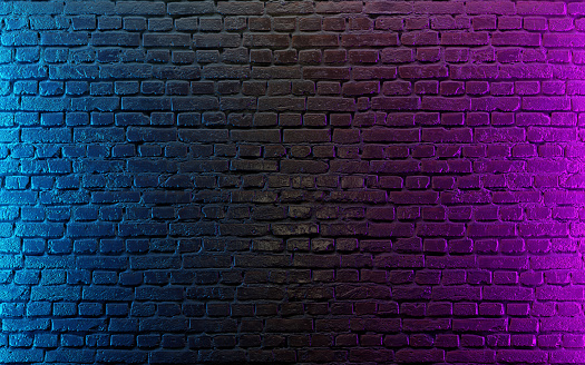 istock Modern futuristic neon lights on old grunge brick wall room background 1174967858