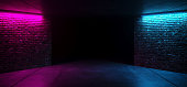 Modern Futuristic Sci Fi Retro Elegant Club Disco Party neon GLowing Purple PInk Blue Grunge Bricks Concrete Room With Glowing Lights Empty Stage Background 3D Rendering Illustration