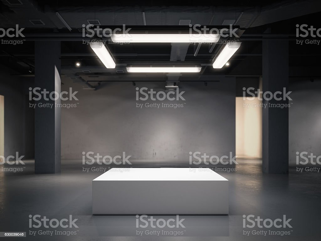 Modern gallery space with bright showcase. 3d rendering stock photo