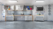 Modern garage interior. 3d illustration