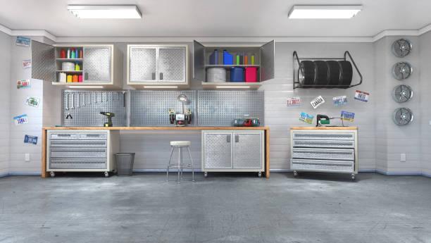 interior moderno da garagem. ilustração 3d - garage - fotografias e filmes do acervo