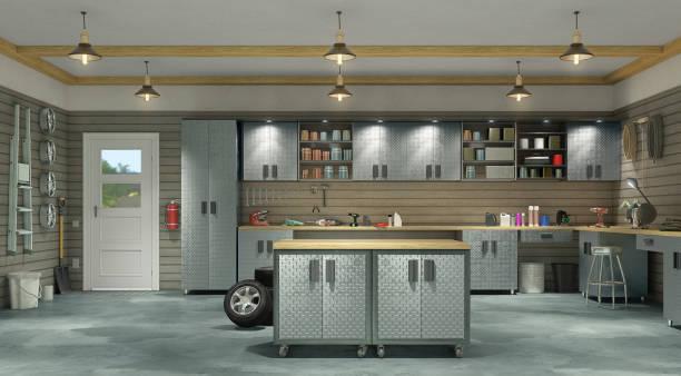 Modern garage interior. 3d illustration stock photo