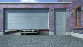 istock Modern garage with open sectional gate. 3d illustration 1171889981