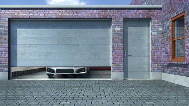 Modern garage with open sectional gate. 3d illustration stock photo