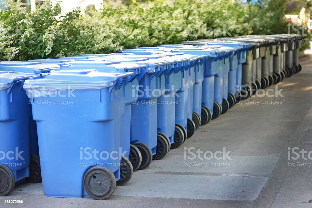 Modern garbage bin in Canada. stock photo