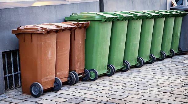 modern garbage bins stock photo