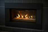 modern gas fireplace / contemporary design / gives off some nice heat