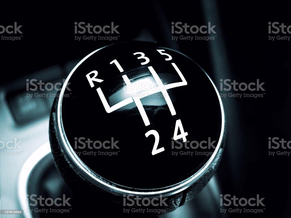 Modern gearstick of a sport car on black stock photo