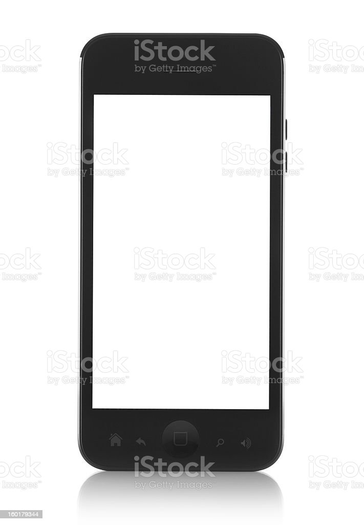 Modern generic black smartphone with white screen stock photo