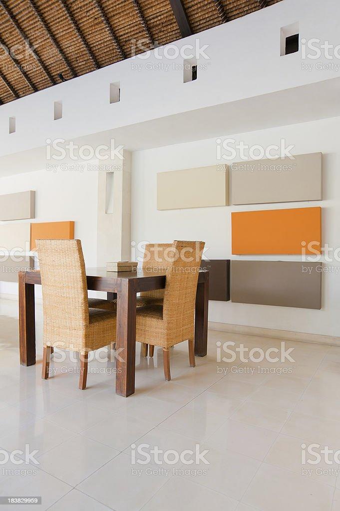 modern geometrical dining interior in a bali villa stock photo