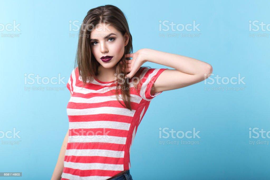 Modern kız stil. stok fotoğrafı