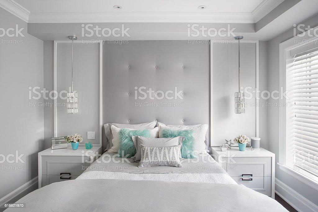 Modern Girls Bedroom. Horizontal. stock photo