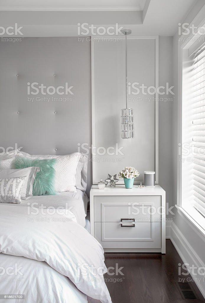 Modern Girls Bedroom – Vertical Detail stock photo