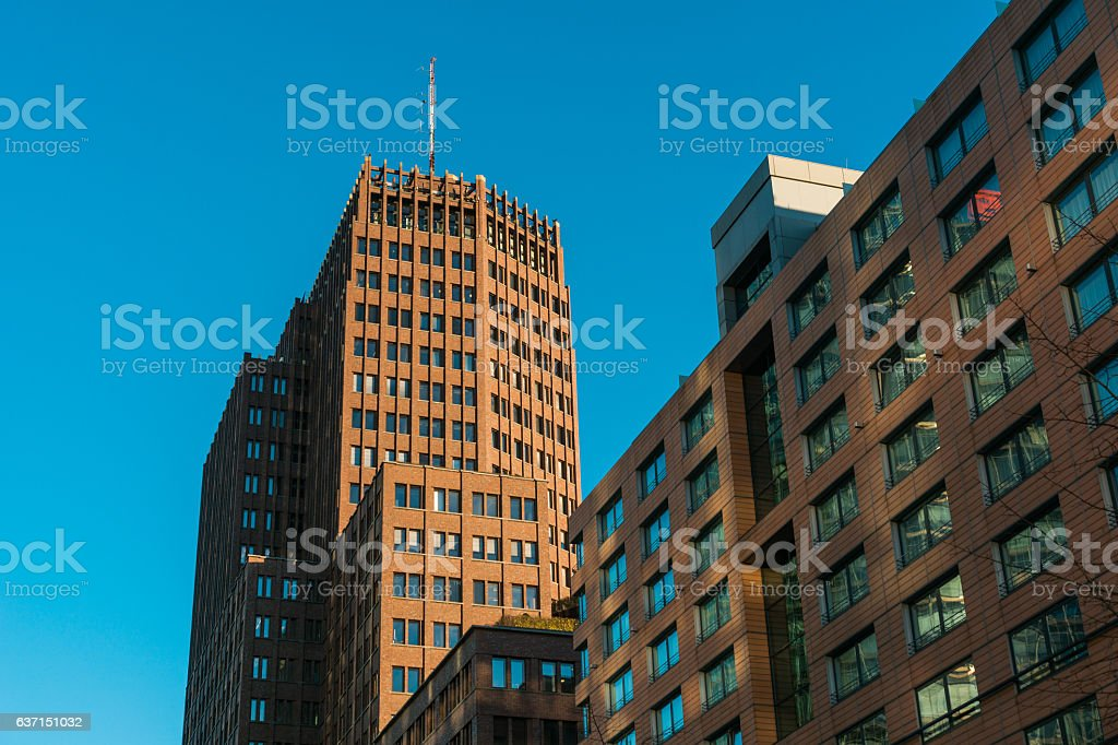 modern glass and steel office buildings near Potsdamer Platz stock photo