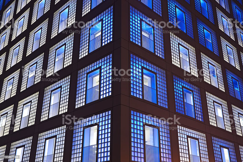 Modern Glass Architecture at Night royalty-free stock photo