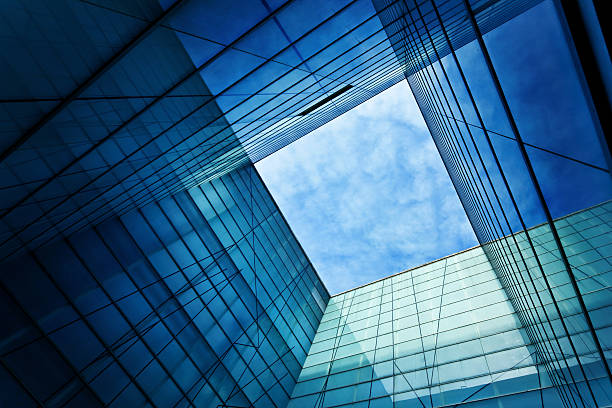 modern glass architecture - diminishing perspective stock photos and pictures