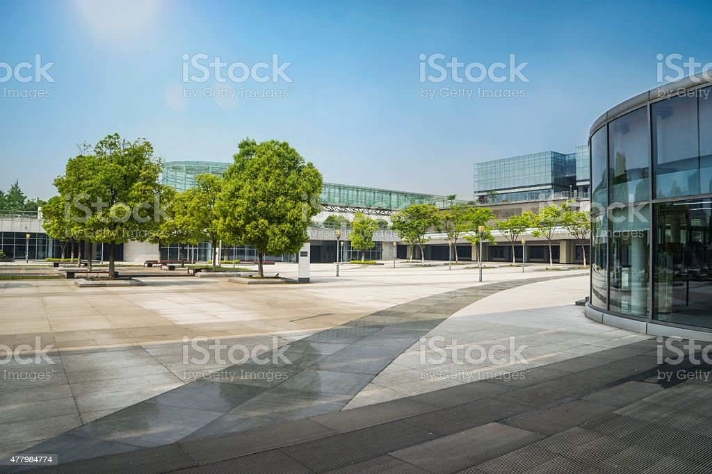 Modern glass building and plaza shopping center stock photo