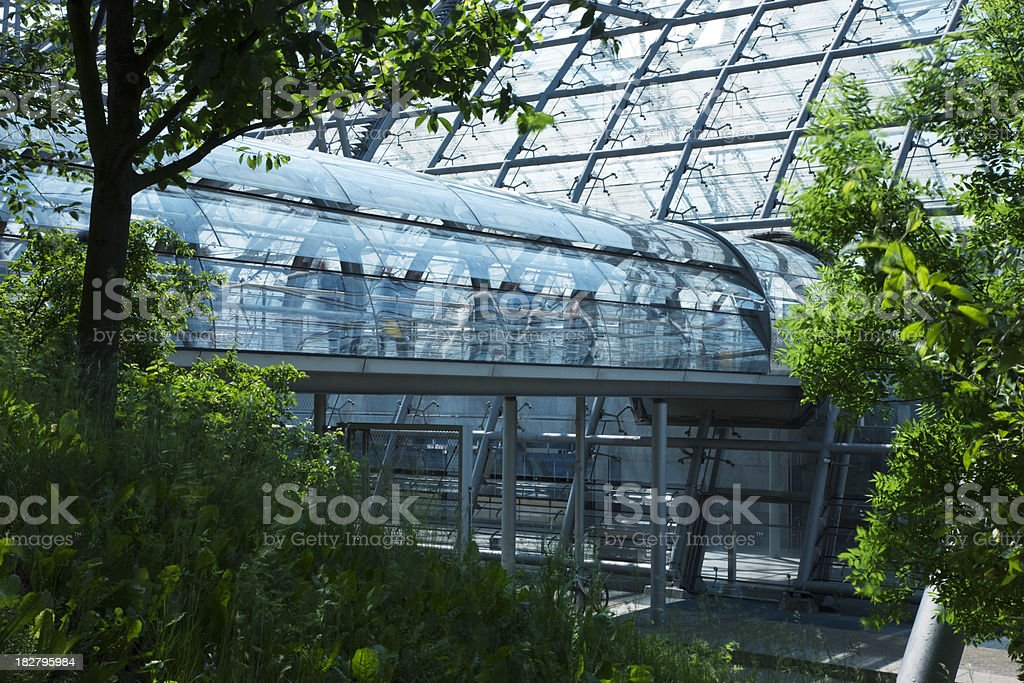 Modern Glass Building with Footbridge in Natural Environment royalty-free stock photo