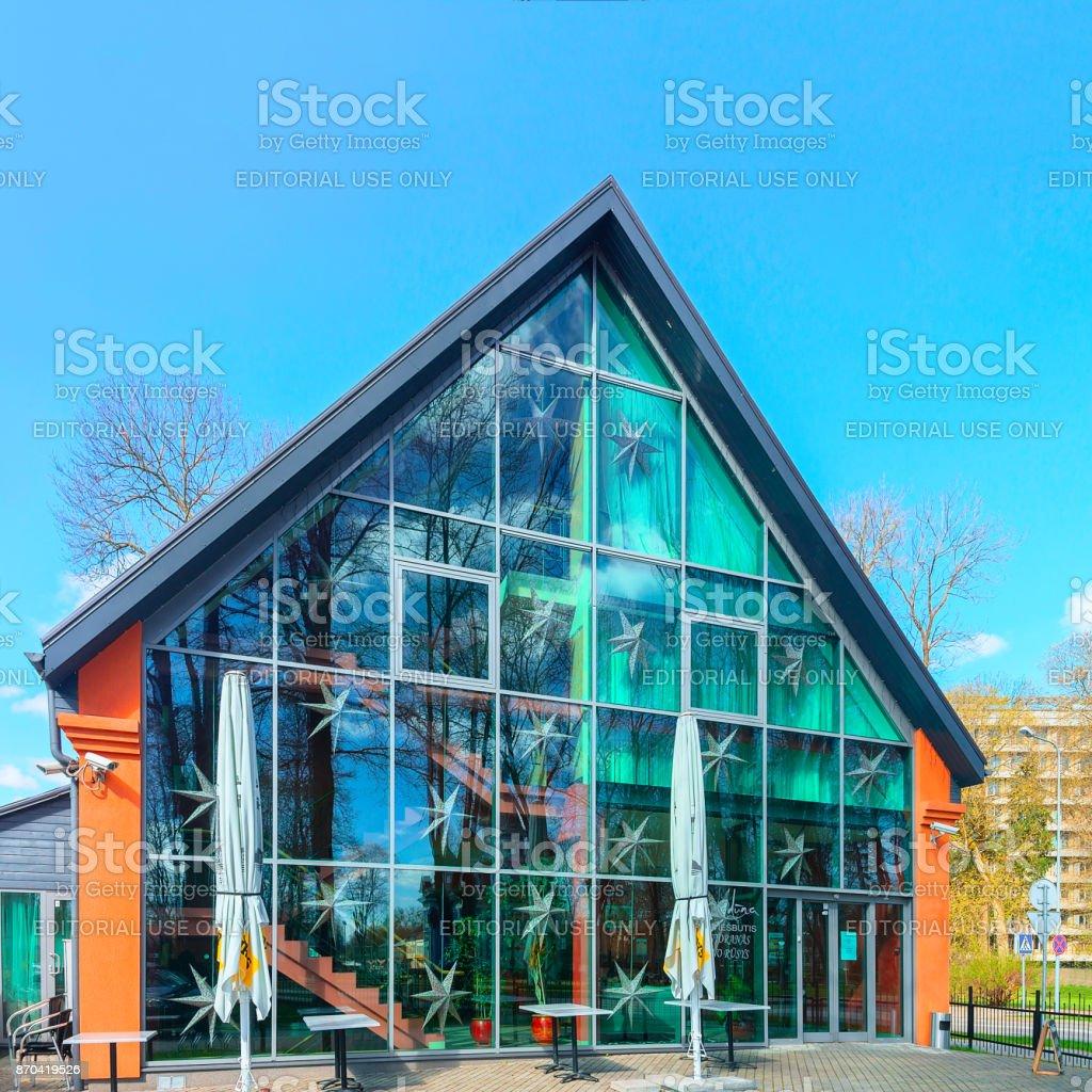 Modern glass hotel building in Druskininkai stock photo