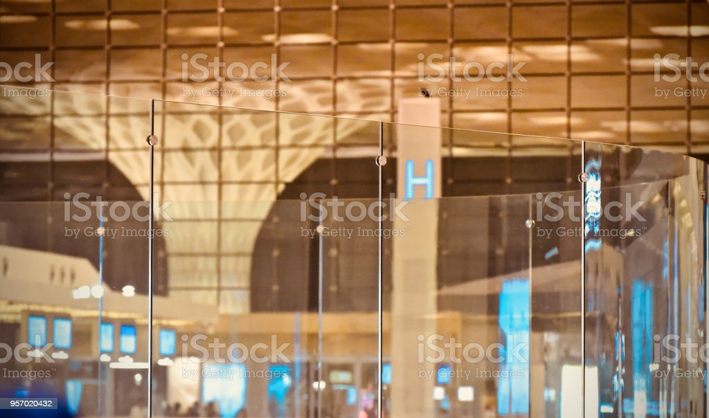 A modern glass made interior decoration of a building unique photo stock photo