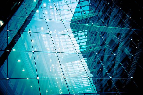 modern glass office architectur - i̇nsan yapımı yapı stok fotoğraflar ve resimler