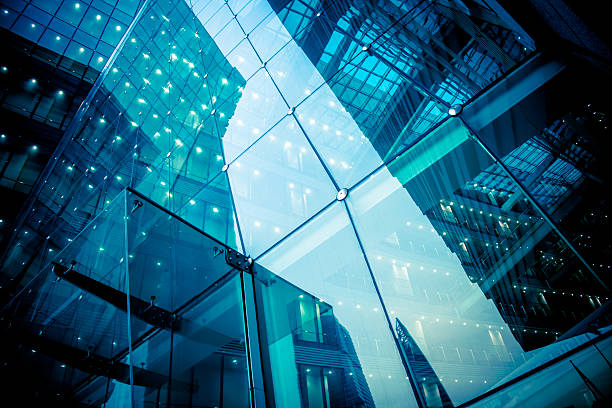modern glass office architectur - industrial modern stock photos and pictures