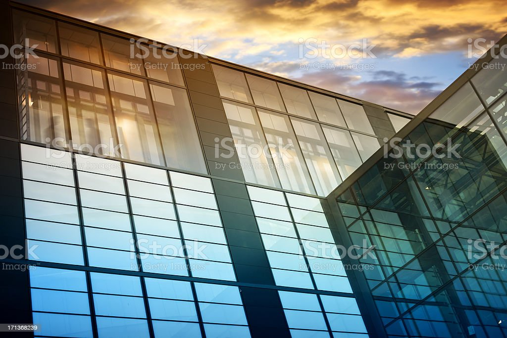 Modern glass office architecture and sunlight stock photo