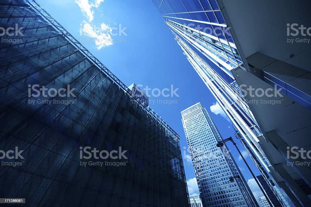 Modern glass office buildings and blue sky stock photo