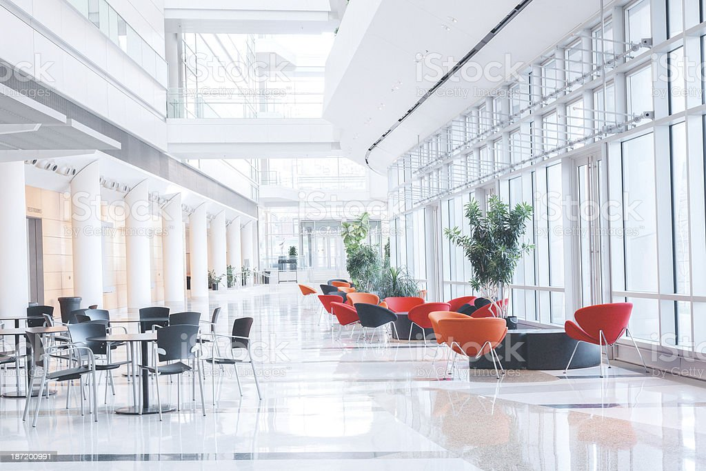Modern Glass Office Lobby royalty-free stock photo